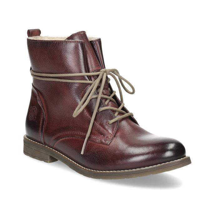 Skórzane botki damskie zociepliną bata, czerwony, 596-5702 - 13