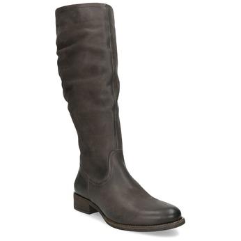 Brązowe skórzane kozaki zprzeszyciami bata, brązowy, 596-4700 - 13
