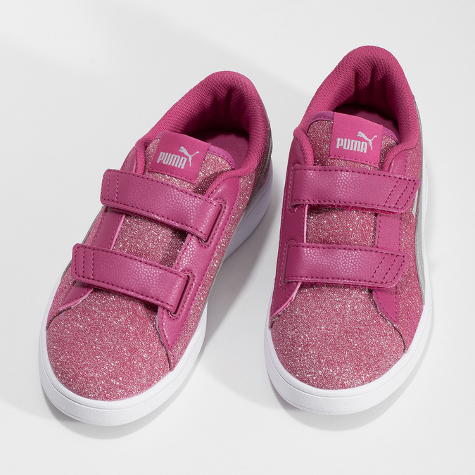 Różowe trampki dziecięce na rzepy puma, różowy, 301-5224 - 16