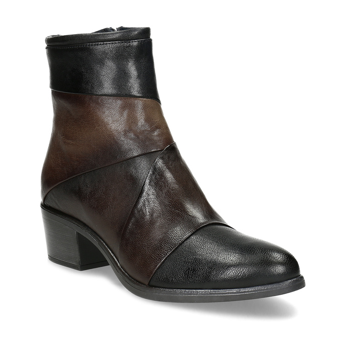 Brązowe skórzane botki zplastycznymi połączeniami bata, brązowy, 696-2653 - 13