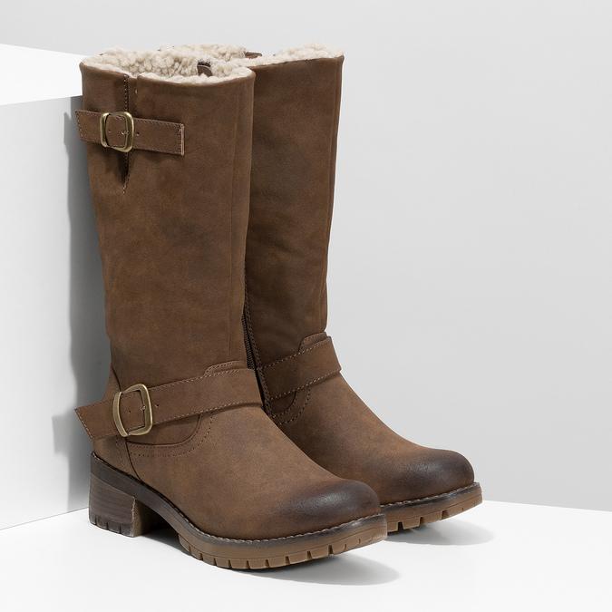 Brązowe kozaki damskie zklamrami bata, brązowy, 691-4643 - 26