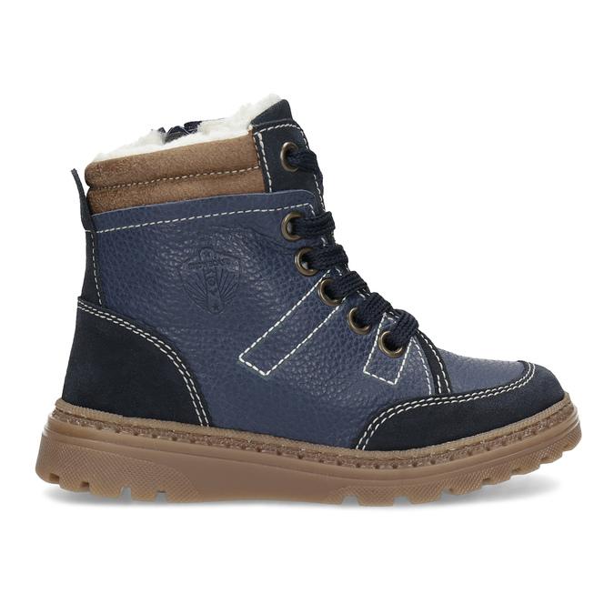 Granatowe skórzane obuwie dziecięce na zimę mini-b, niebieski, 294-9601 - 19
