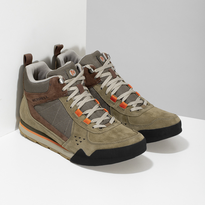 Skórzane obuwie męskie wstylu outdoor, wkolorze khaki merrell, khaki, 803-7104 - 26
