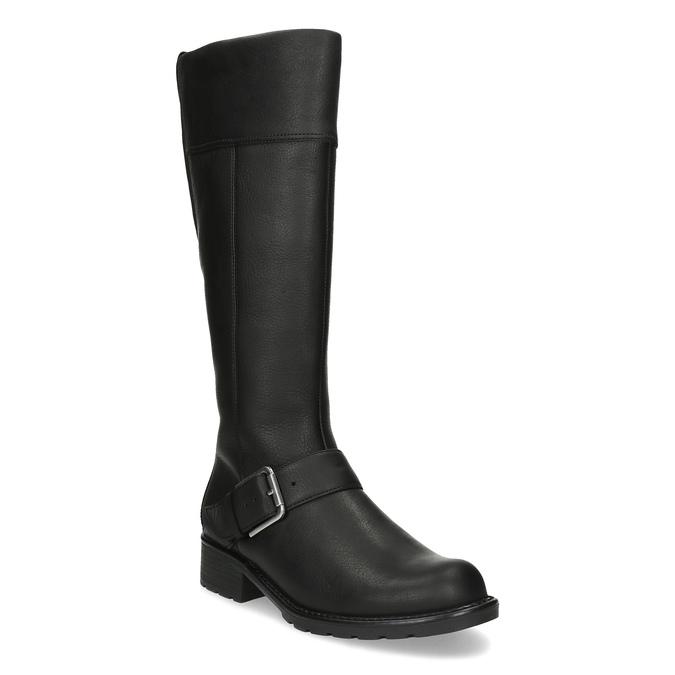 Czarne kozaki damskie zklamrami clarks, czarny, 696-6087 - 13