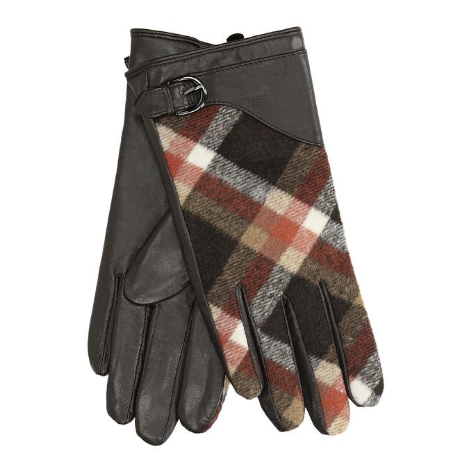 Brązowe skórzane rękawiczki damskie wkratkę bata, brązowy, 904-4138 - 13
