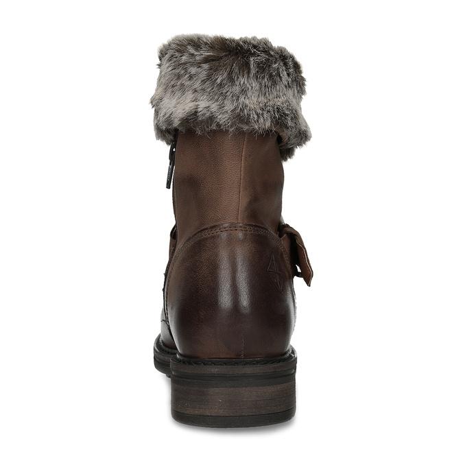 Zimowe skórzane obuwie damskie zfuterkiem bata, brązowy, 596-4701 - 15