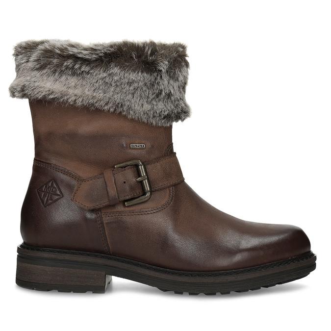 Zimowe skórzane obuwie damskie zfuterkiem bata, brązowy, 596-4701 - 19