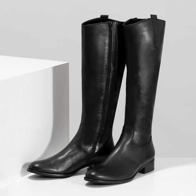 Czarne skórzane kozaki damskie gabor, czarny, 694-6179 - 16