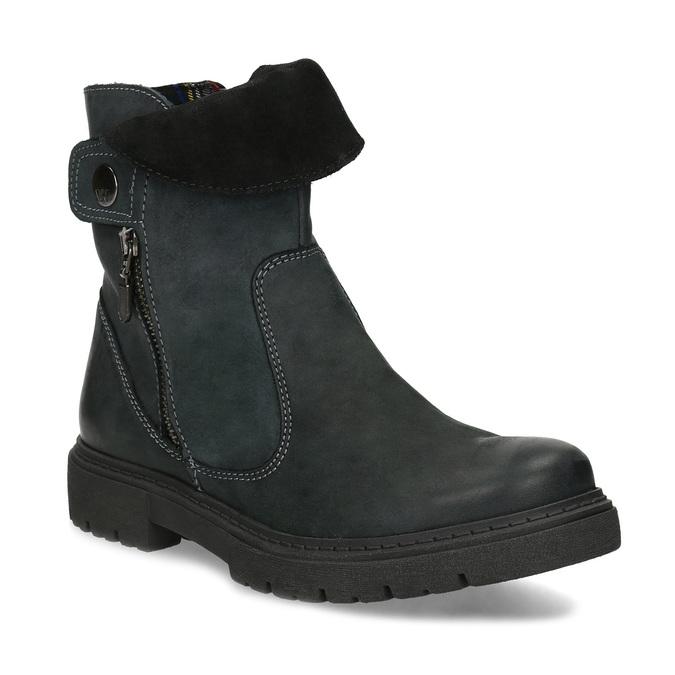 Zimowe skórzane obuwie damskie zprzeszyciami weinbrenner, czarny, 596-6751 - 13
