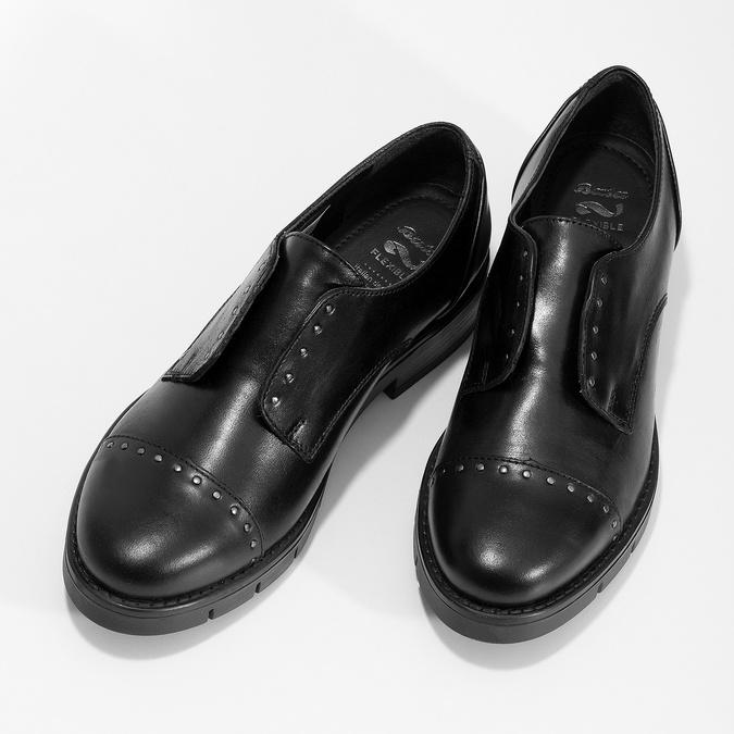 Skórzane półbuty damskie zćwiekami flexible, czarny, 514-6147 - 16
