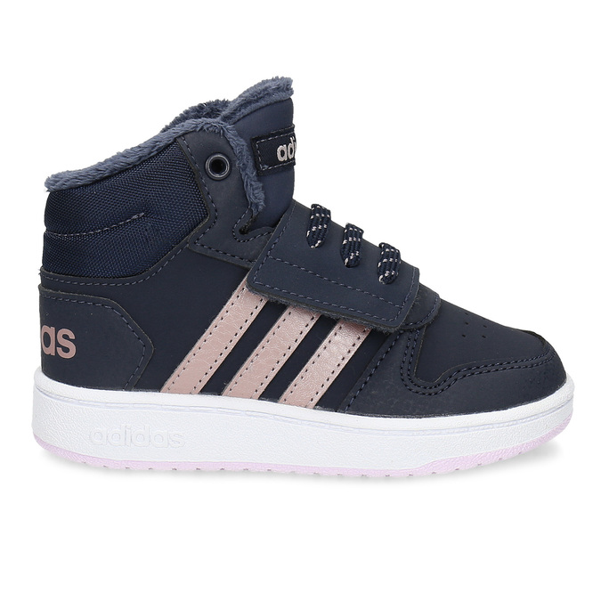 Granatowe zimowe trampki dziecięce za kostkę adidas, niebieski, 101-9197 - 19
