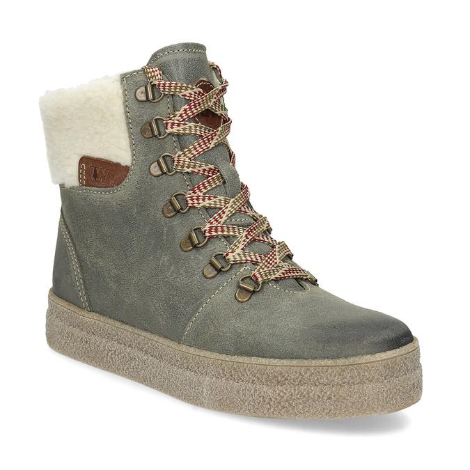 b6abe276 Zimowe skórzane obuwie damskie weinbrenner, zielony, 596-7750 - 13