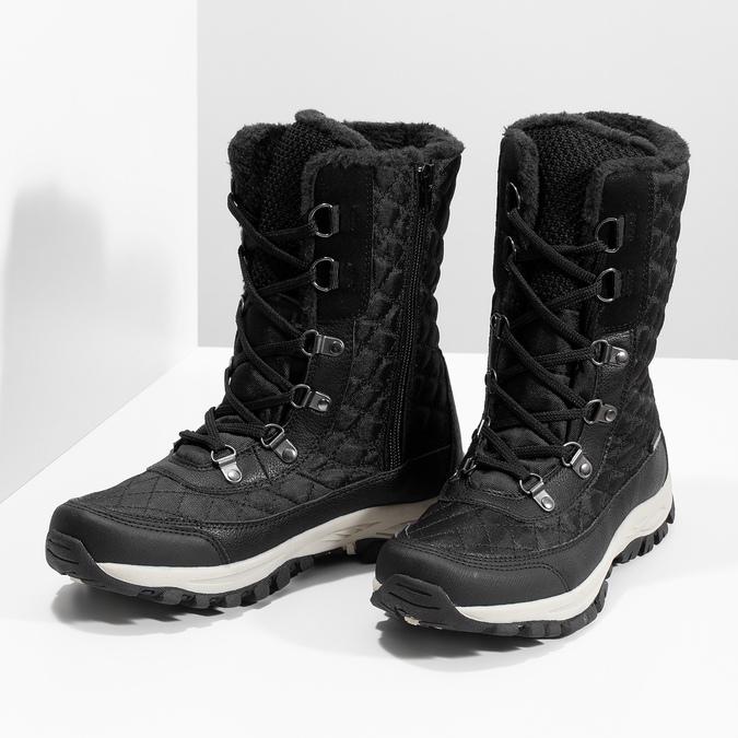 Pikowane zimowe śniegowce damskie bata, czarny, 599-6623 - 16