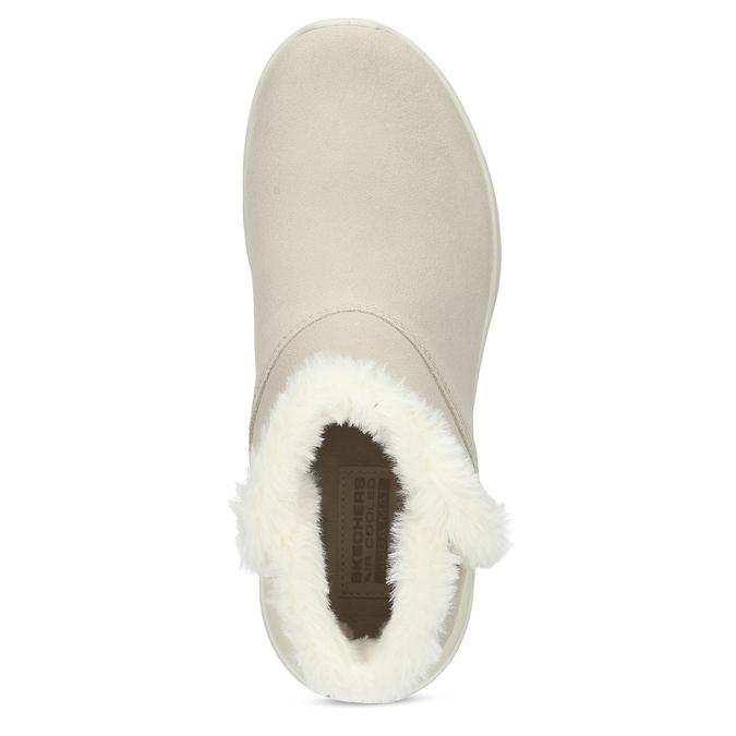 Beżowe skórzane obuwie zimowe zfuterkiem skechers, beżowy, 503-8124 - 17
