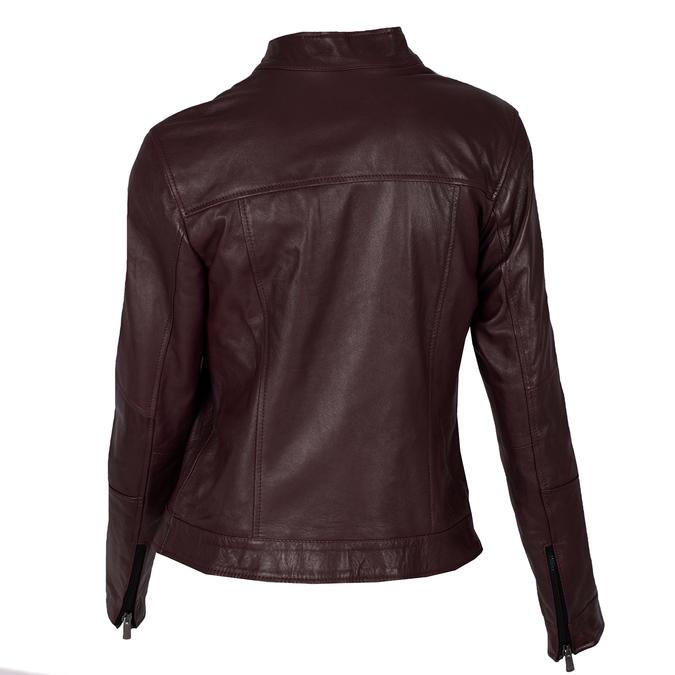 Bordowa skórzana kurtka damska zprzeszyciami bata, czerwony, 974-5106 - 26