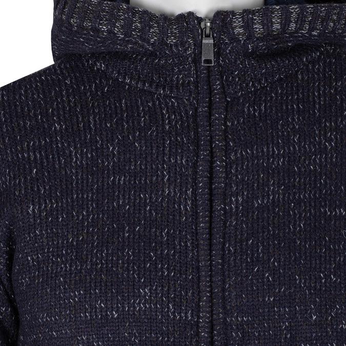 Granatowa dzianinowa bluza męska zkapturem bata, niebieski, 979-9406 - 16