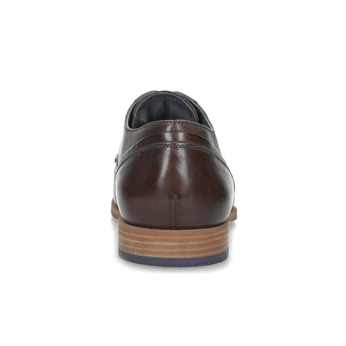 Ciemnobrązowe skórzane półbuty męskie bata, brązowy, 826-4615 - 15