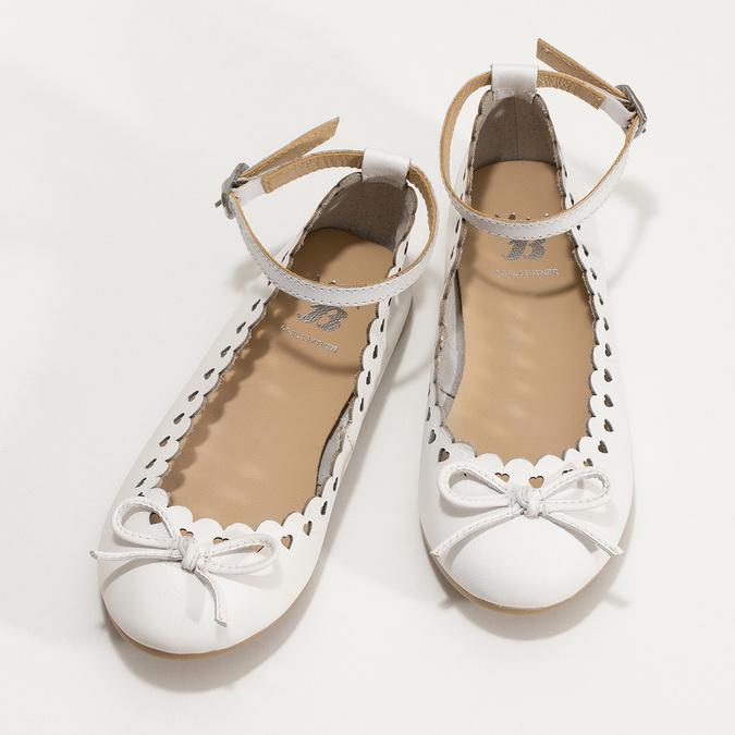 Białe skórzane baleriny dziewczęce mini-b, biały, 324-1157 - 16