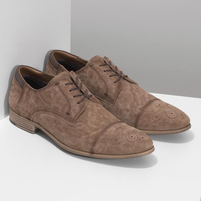 Brązowe skórzane półbuty ze zdobieniami brogue bata, brązowy, 823-3654 - 26