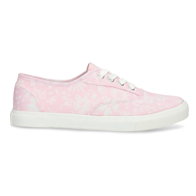 Biało-różowe trampki damskie wkwiaty north-star, różowy, 589-5502 - 19