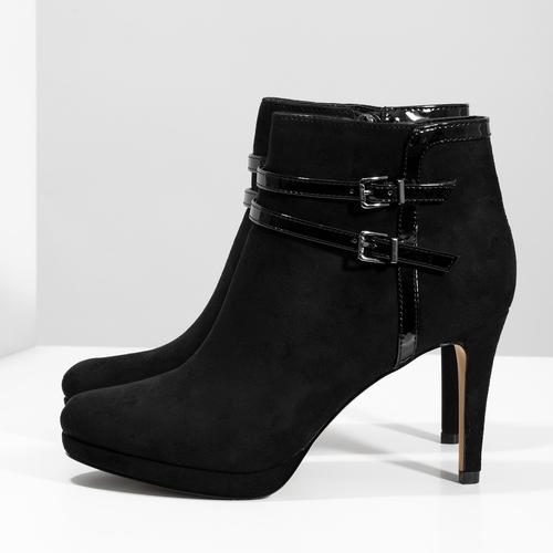 Czarne botki na szpilkach bata, czarny, 799-6624 - 16